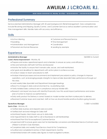 Administrative Manager resume template Kansas