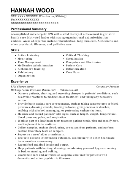 LPN Charge nurse resume example Kansas