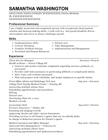 Client Service Manager resume sample Kansas