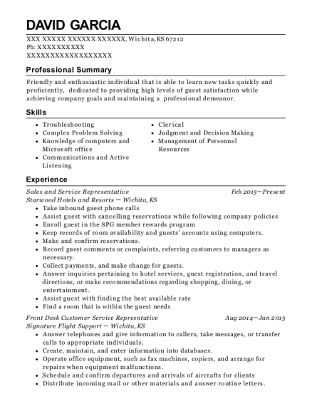 Sales and Service Representative resume template Kansas