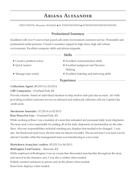 Collections Agent resume format Kansas