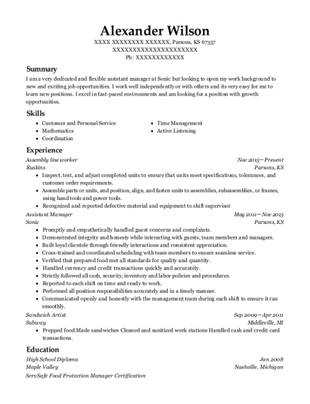 Assembly Line Worker resume example Kansas