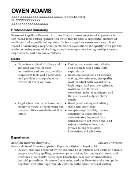 Appellate Reporter Attorney II resume template Kansas