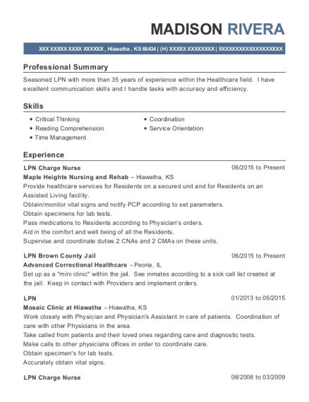 LPN Charge Nurse resume sample Kansas