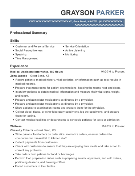 Medical Assistant Internship resume example Kansas