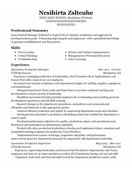 Operations Production Manager resume example Kansas