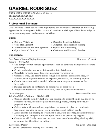 Loss Prevention and Safety Manager resume example Kansas