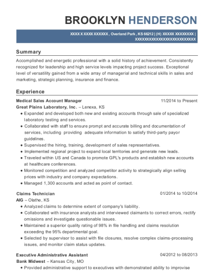 Medical Sales Account Manager resume example Kansas