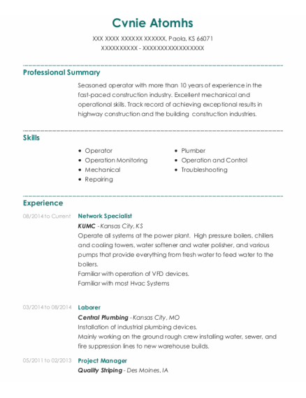 Network Specialist resume sample Kansas
