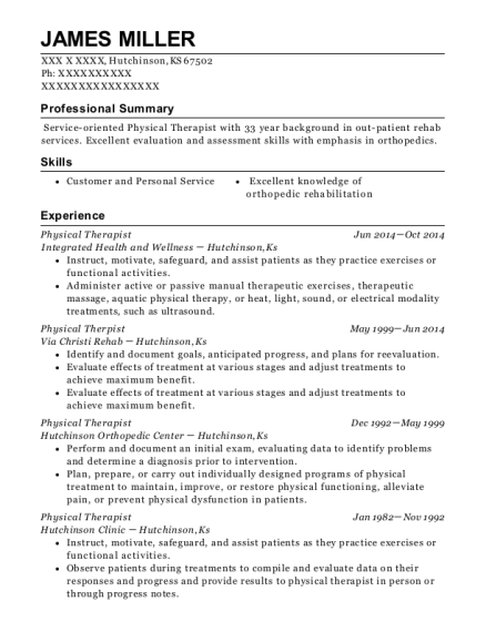 Physical Therapist resume example Kansas