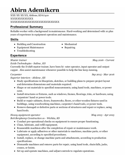 Master Trainer resume sample Kansas