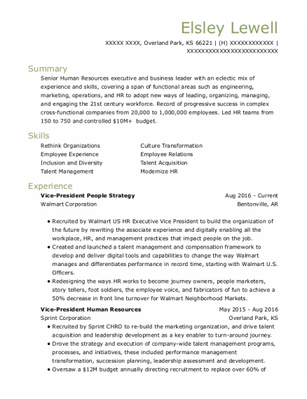 Sr Manager New Partner Development resume template Kansas