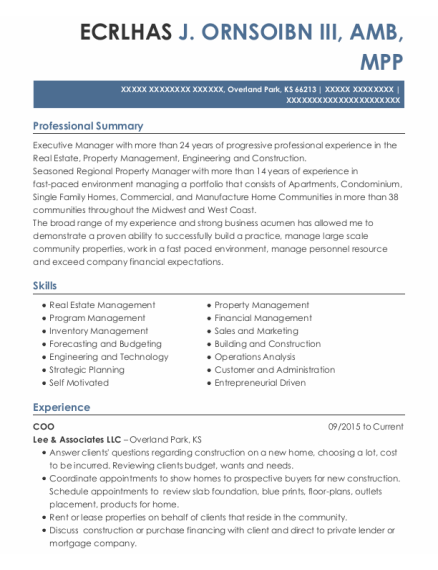 Coo resume template Kansas