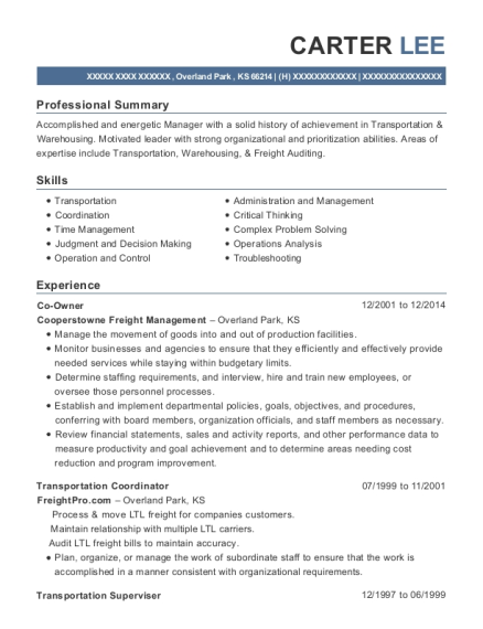 Co Owner resume format Kansas