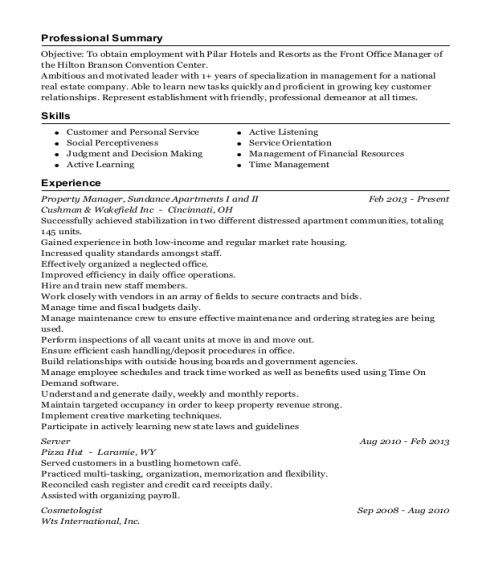 public storage property manager resume sample