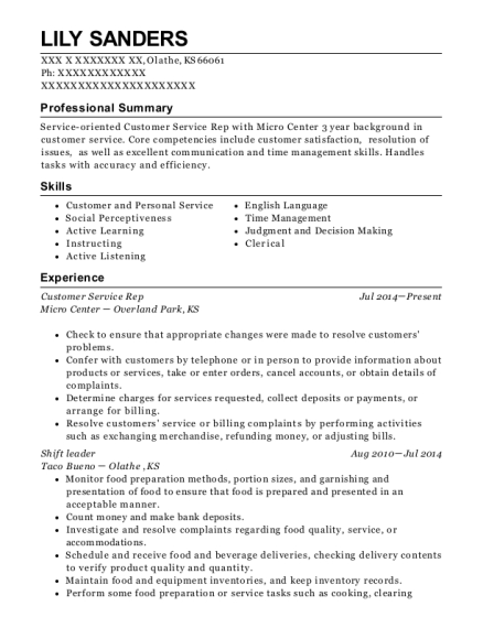 Customer Service Rep resume template Kansas