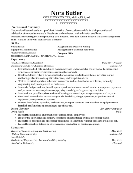 Graduate Research Assistant resume sample Kansas