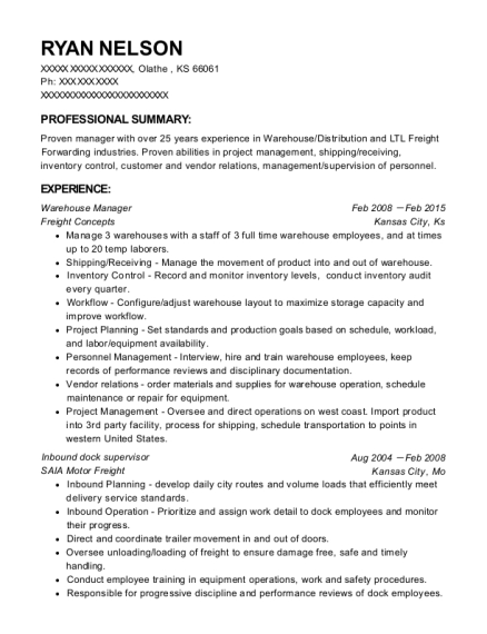 Warehouse Manager resume example Kansas