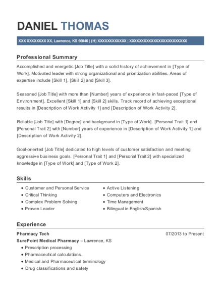 Pharmacy Tech resume format Kansas