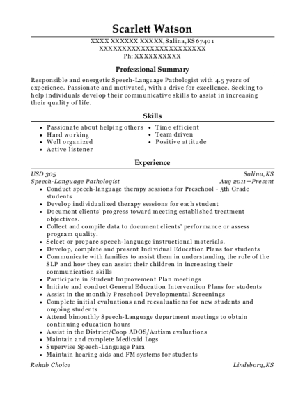 Speech Language Pathologist resume template Kansas