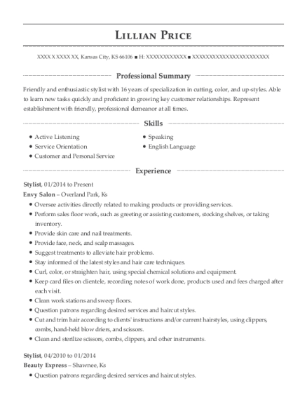 Stylist resume sample Kansas