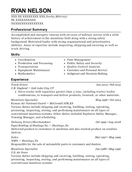 Truck Driver resume example Kansas