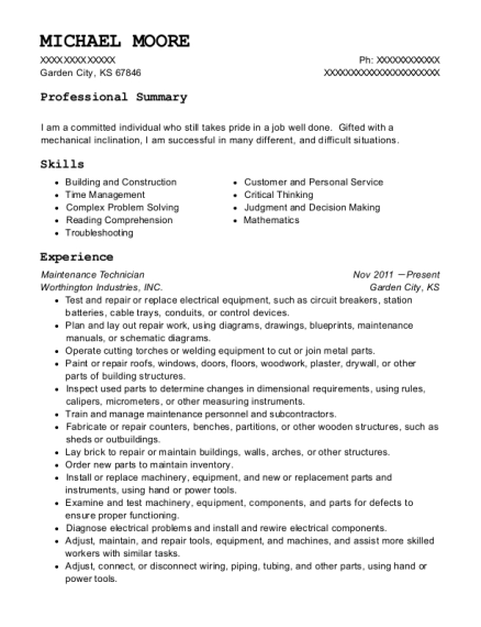 Maintenance Technician resume example Kansas