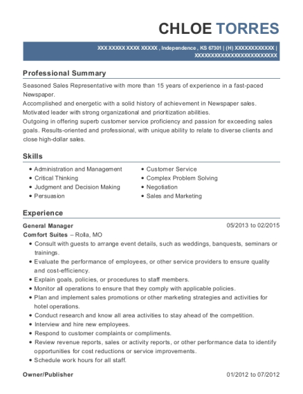 General Manager resume format Kansas