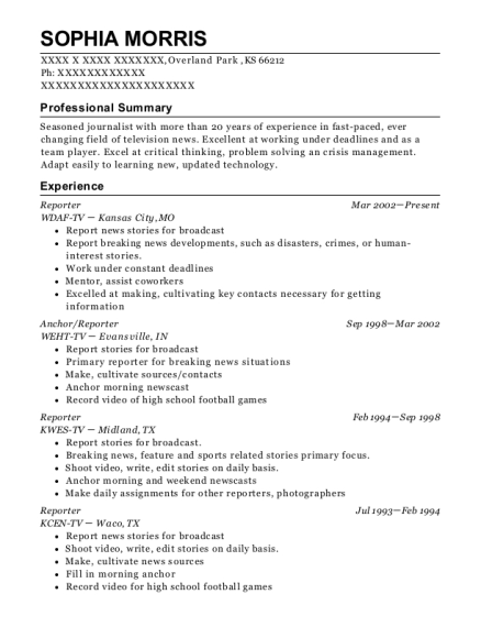 Reporter resume sample Kansas