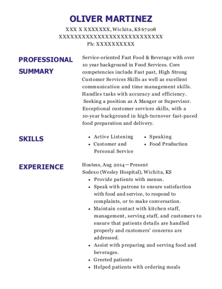 Hostess resume example Kansas