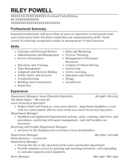 Department Manager resume format Kansas