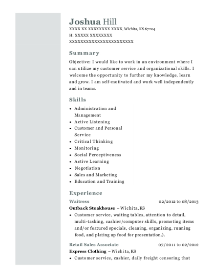 Waitress resume template Kansas