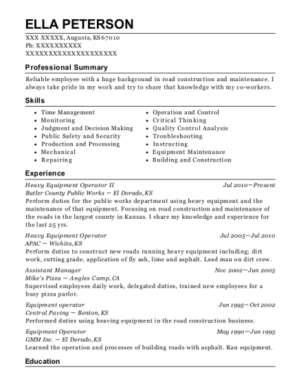 Heavy Equipment Operator II resume example Kansas