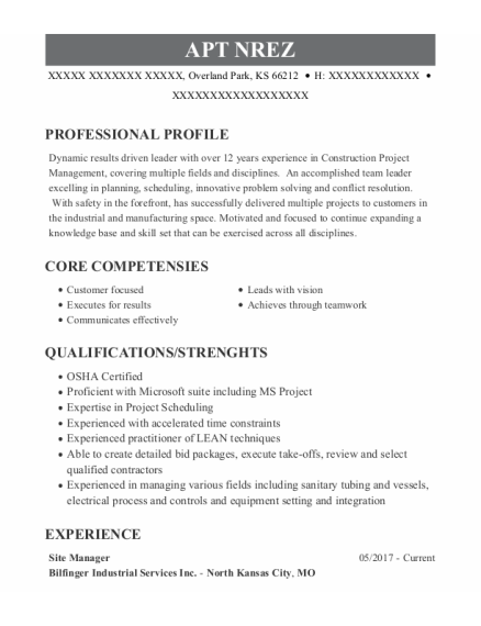 Site Manager resume format Kansas