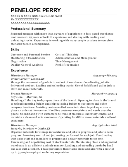 Warehouse Manager resume template Kansas