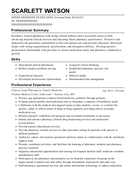 Clinical Lead Pharmacist resume example Kansas