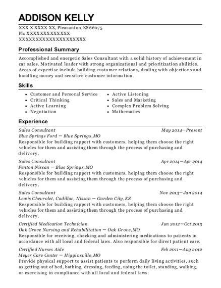 Sales Consultant resume sample Kansas