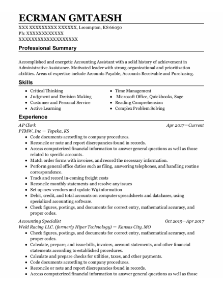 Accounting Specialist resume format Kansas