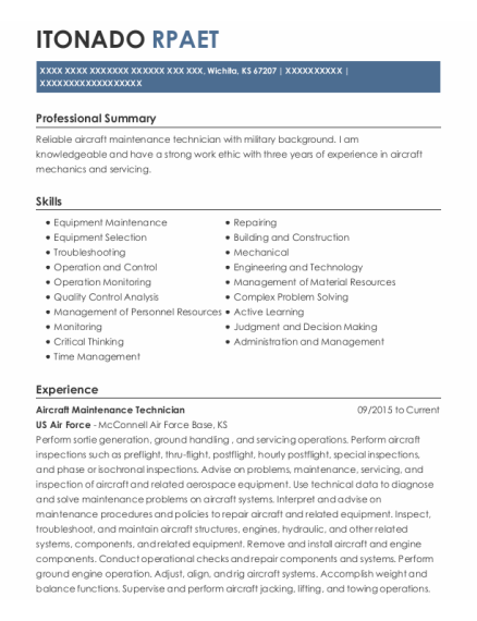 Aircraft Maintenance Technician resume example Kansas