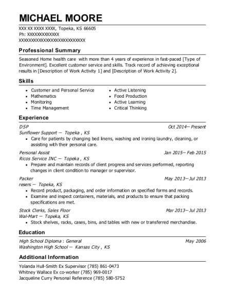 DSP resume example Kansas