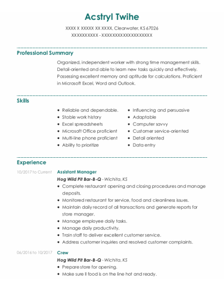 Assistant Manager resume template Kansas
