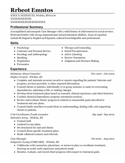 Substance Abuse Counselor resume template Kansas