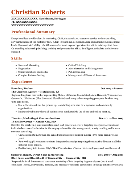 Founder resume sample Kansas