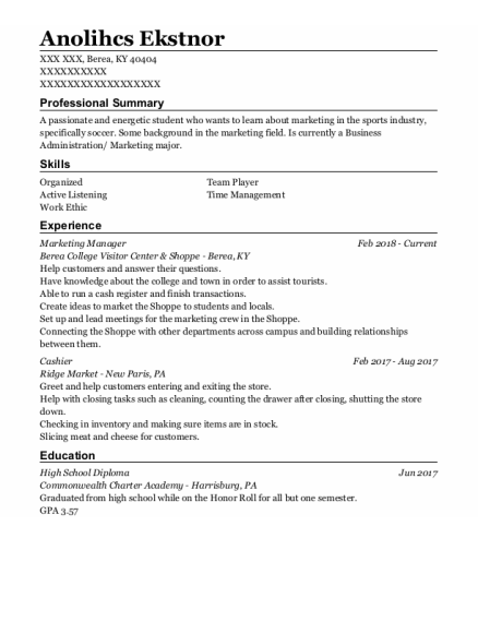Digital Marketing Manager resume example Kentucky