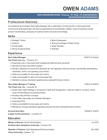 Store Sales Manager resume sample Kentucky