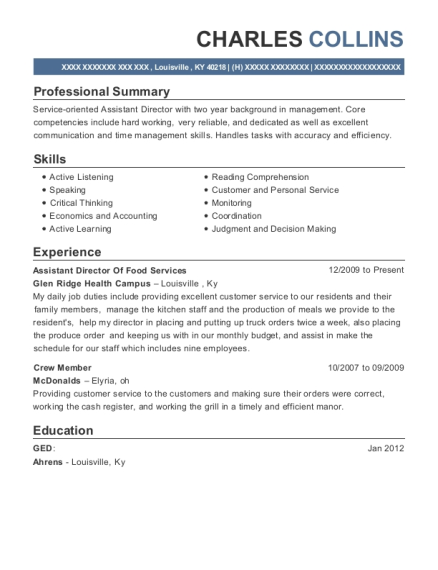 Assistant Director Of Food Services resume sample Kentucky