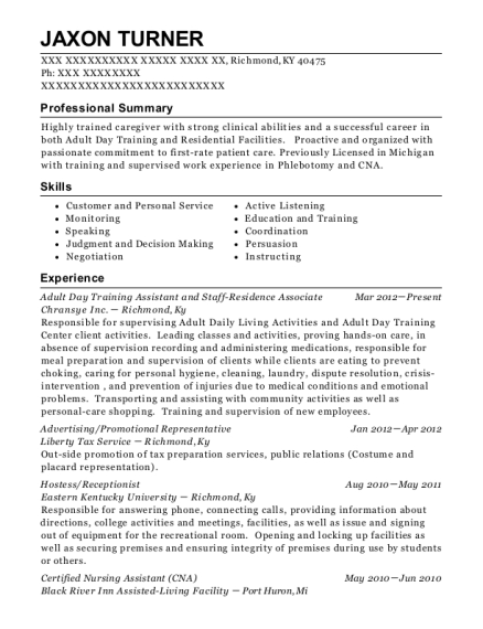 Adult Day Training Assistant and Staff Residence Associate resume format Kentucky