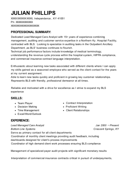 Lead Managed Care Analyst resume example Kentucky