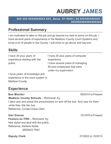 Bus Monitor resume format Kentucky