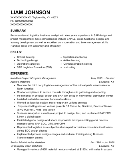 Applied Materials Non Tech Project Resume Sample